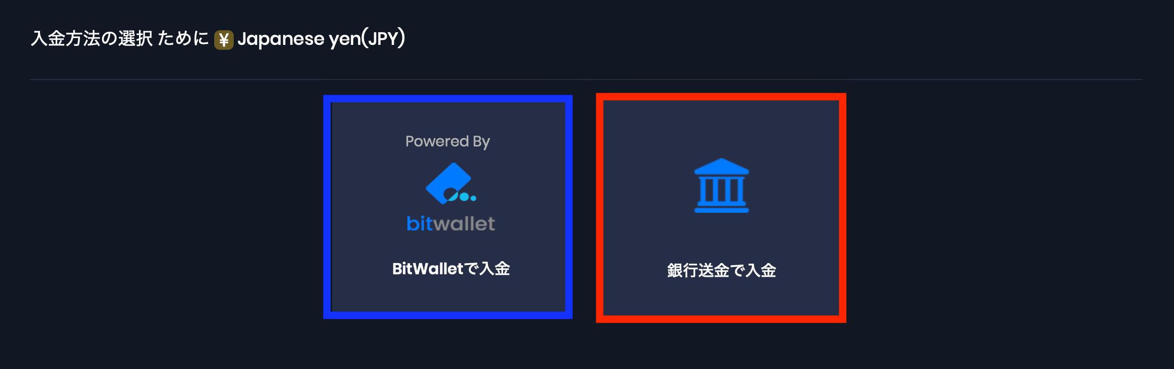 Bitwallet入金か海外銀行送金かを選択